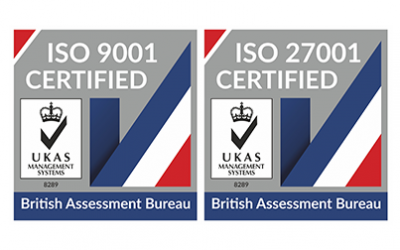 We've successfully renewed our ISO 9001 and ISO 27001 accreditations